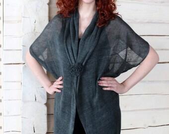 Sheer Knitted Dark Grey Wrap Shawl Sweater
