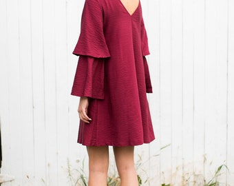 Grace Dress (Burgundy)- Dress with low back and tiered sleeve detailing