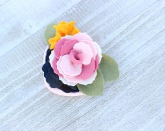 Felt Flower Headband, Light Pink Petit / Pale Pink Navy Flower Headband / Pink Flower Crown / Pink Navy Headband  / Pink Head Band