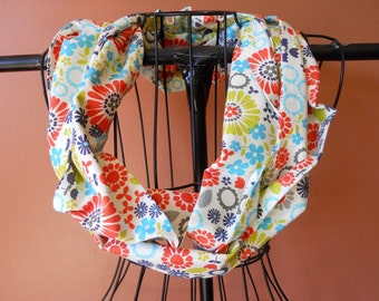 Fabric Infinity Scarf in Bright Retro Floral
