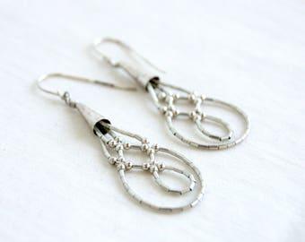Liquid Silver Beaded Earrings Long Vintage Southwestern Boho Dangles Woven Infinity