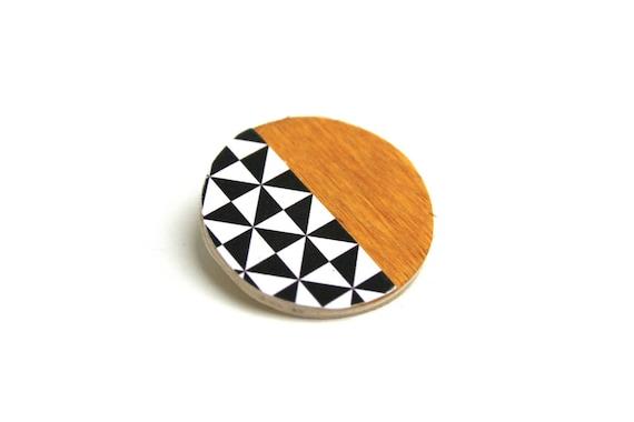Brooch mustard, black and white, Scandinavian, minimalist, natural wood triangles