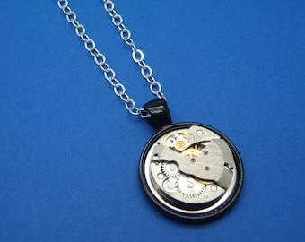 Round Vintage Watch Movement Pendant Necklace