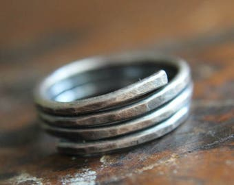 Silver Wrap Ring, Wide Wrap Ring, Forged Silver Ring, Sterling Silver Jewelry, Gift for Her, Hammered Silver Ring, Artisan Metalwork