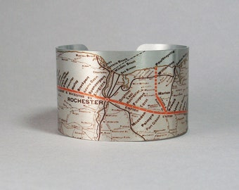 Cuff Bracelet Upstate New York Rochester Syracuse Lockport Map Unique Gift for Men or Women