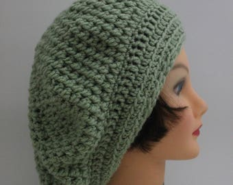 Hand Knitted  Green Beanie,  Slouchy Beanie, Head Accessory,  Boho-chic