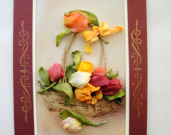 Silk ribbon embroidered card 'Basket with tulips'
