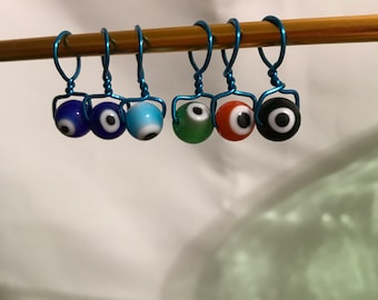 Wire wrapped, Beaded, Snag-less Stitch Markers, Eye On My Stitches