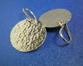 If I Had a Hammer - Hammered Brass Discs - Medium Earrings