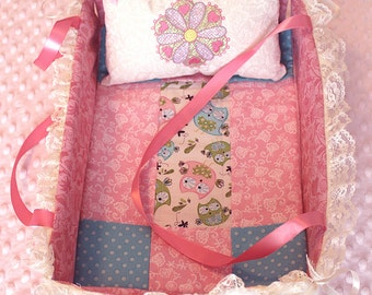 "Doll Bed Carrier 13""  with Quilt Pillow & Mattress Pink Collapsible"