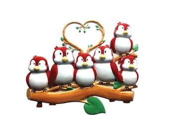 6 Red Birds Ornament / Personalized Ornament / Family of Six Red Birds on a Branch / Family Ornament / Christmas Ornament