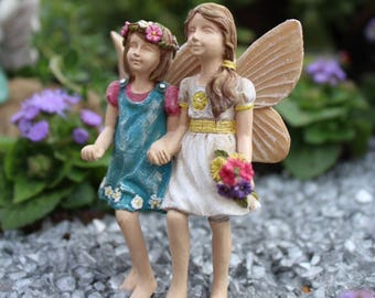 Fairy Sisters, Miniatures Fairy Girl Garden Stakes, Fairies in white dress and blue dresses, Fairy Garden Supplies