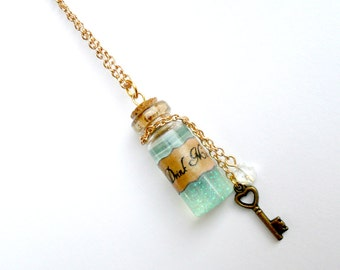 Alice In Wonderland Drink Me Bottle Charm Necklace, Rose Gold Plated Necklace, Cute, Kawaii :D