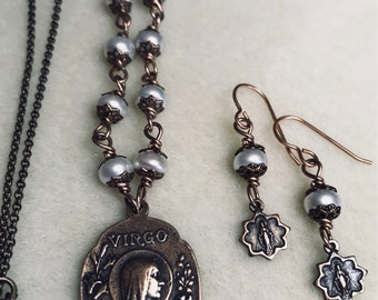 Pearl Bronze Lourdes Necklace & Earring Set, Miraculous Medal earrings, pearl, Wire Wrapped, Catholic