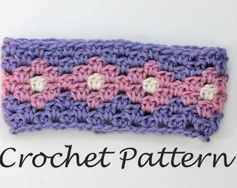 Granny Square Headband Crochet Pattern, Summer Crochet Pattern,  Stash Buster, Instant Download,  Ear Warmer Pattern, Adult, Child Sizes