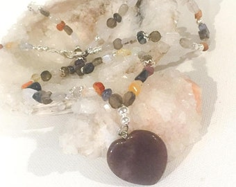 MothersDaySale Multi Gemstone Heart Necklace