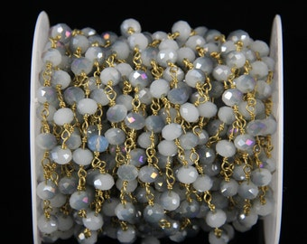 Fashion  Titanium Gray Glass Beads,Faceted Rondelle Beads Rosary Style Golden Plated Chain,Necklace,by Foot,3.28 feet