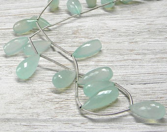 Cabbage Green Chalcedony Faceted Elongated Teardrops 18 X 8mm - 8 inch Strand