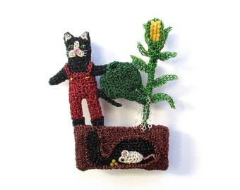 Cat and mouse gardening brooch - cat and mouse jewelry, garden brooch, whimsical jewelry