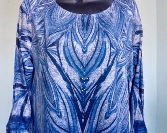 PSYCHEDELIC TUNIC DRESS periwinkle blue assymetrcal tunic dress small-large free domestic shipping