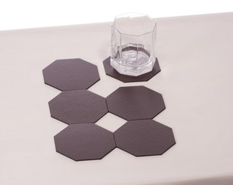 Octagon Brown Coasters, Set of 4  6  8 coasters, Dining table decor Table accessories Drink barware Drink coasters Octagon coasters Glass