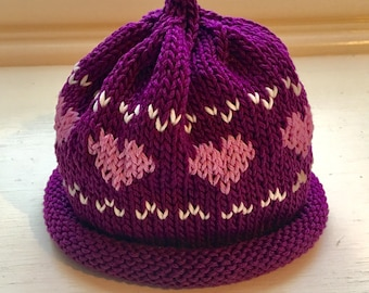Handmade Magenta Hat with Pink Hearts