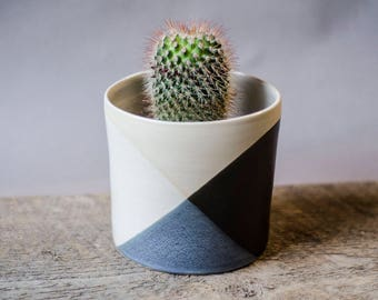 Black White Planter, Succulent Planter, Ceramic Planter, Indoor Planter, Pottery Planter, Garden Gift, Cactus Planter,Modern Planter