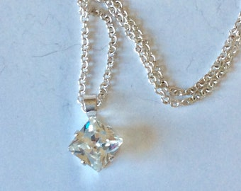 Sale Eye Catching Princess Cut Pendant Silver CZ 3/8 in. With 20 in. Chain