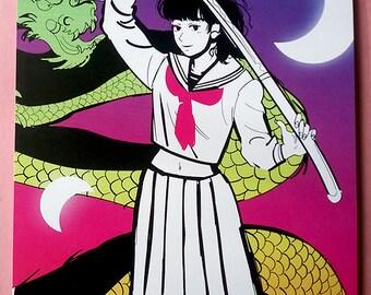 5x7 Mini Art Print Samurai Schoolgirl Uniform Anime Girl Original Art Postcard