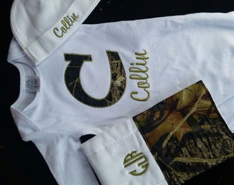 Personalized camo baby 3piece set. gown, hat, and burp cloth. boys/girls