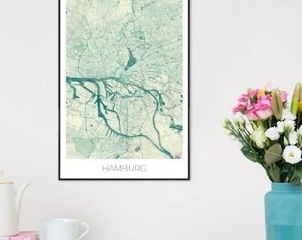 "Hamburg City Maps Print - ""Hamburg Vintage"" at JUNIQE - Artist: Hubert Roguski"