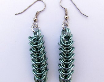 Green Earrings, Chain Maille Earrings, Box Chain, Seafoam Green Jewelry, Jump Ring Jewelry