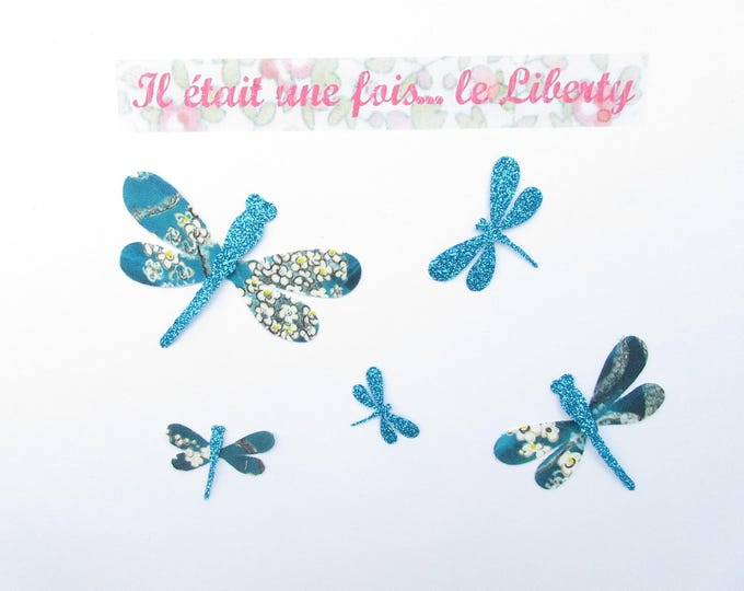 Applied fusible dragonflies liberty Pamela Judith blue & glitter flex dragonflies iron patch on dragonfly