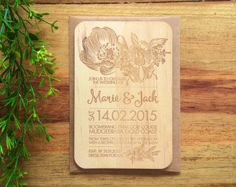 Wood wedding invitation - Timber wedding invitation - Floral Design - Pack of 10