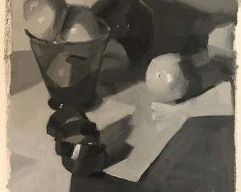"""Oil Painting sketch study black and white """"Purple Coil"""" by Sarah Sedwick"""