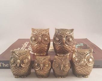 Brass OWLS, Vintage Brass Owls, set of 6 Owls, Owl Figurines, Wise Old Owl, Circa 1970, Brass Birds. SPIRIT ANIMAL.