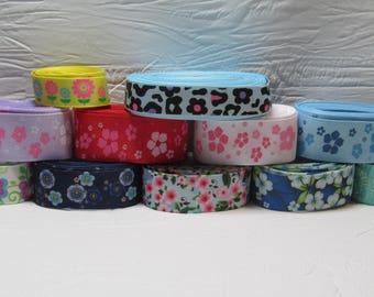 Grosgrain ribbon bundle 11 yards of flower prints, Kit
