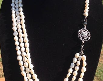 Vintage Inspired, Fresh Water Pearl Multi-Strand Necklace, White