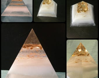 White Gold Pyramid Paperweight