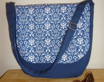 Large  Navy Blue  Cotton  Flower Messenger Shoulder Bag  Ready To Ship