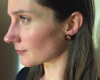 Antique Screw Back Earrings with Enamel Roses