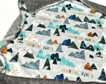 Grey Mountain Baby Blanket, Arrow Baby Bedding, Baby Boy MINKY Blanket, Adventure Awaits Earth Baby Blanket, Ready to Ship Baby Boy Blanket