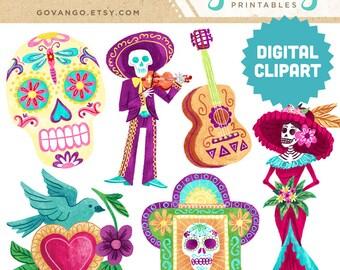 DIA de los MUERTOS Digital Clipart Instant Download Illustration Halloween Skull Day Dead Catrina Mariachi Mexican Folk Art Bird Stock Art