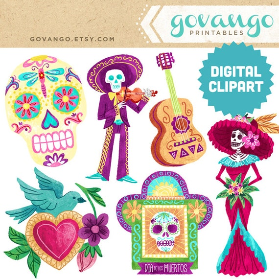 DIA De Los MUERTOS Digital Clipart Instant Download Illustration Halloween Skull Day Dead Catrina Mariachi Mexican Folk Art Bird Stock From Govango On