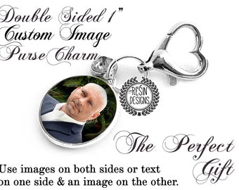 Custom Photo Purse Charm, Personalized Wedding, Gift for the Bride, Bouquet Charm, Memorial Photo Charm, Picture, Key Fob, Two Sided Charm