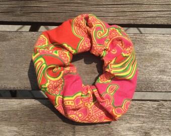 Upcycled Orange Paisley Scrunchie