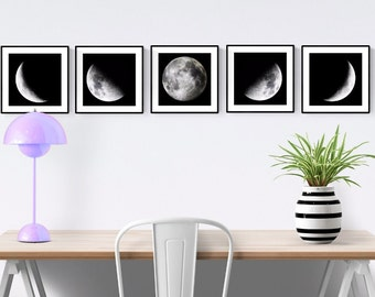 Phases of the Moon 5 Piece Set, Moon Phases Wall Art