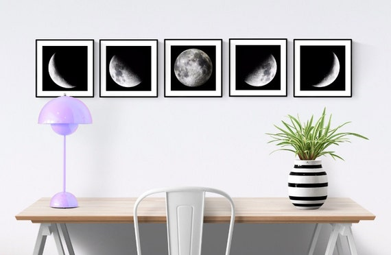 Phases Of The Moon 5 Piece Set Moon Phases Wall Art
