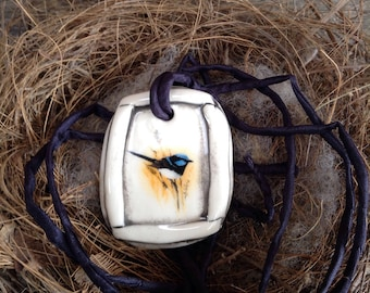 Superb Fairy Wren Pendant Necklace, Black Outline Detail, hand dyed 3mm silk ribbon included.