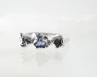 Raw Sapphire and Silver Stacking Ring • 3 Stone Ring • Raw Stone Ring • Stacking Mother's Ring • September Birthstone • Trinity Ring